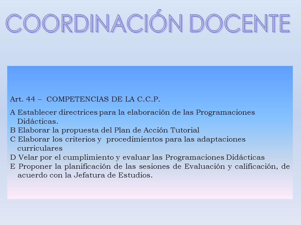 COORDINACIÓN DOCENTE Art. 44 – COMPETENCIAS DE LA C.C.P.