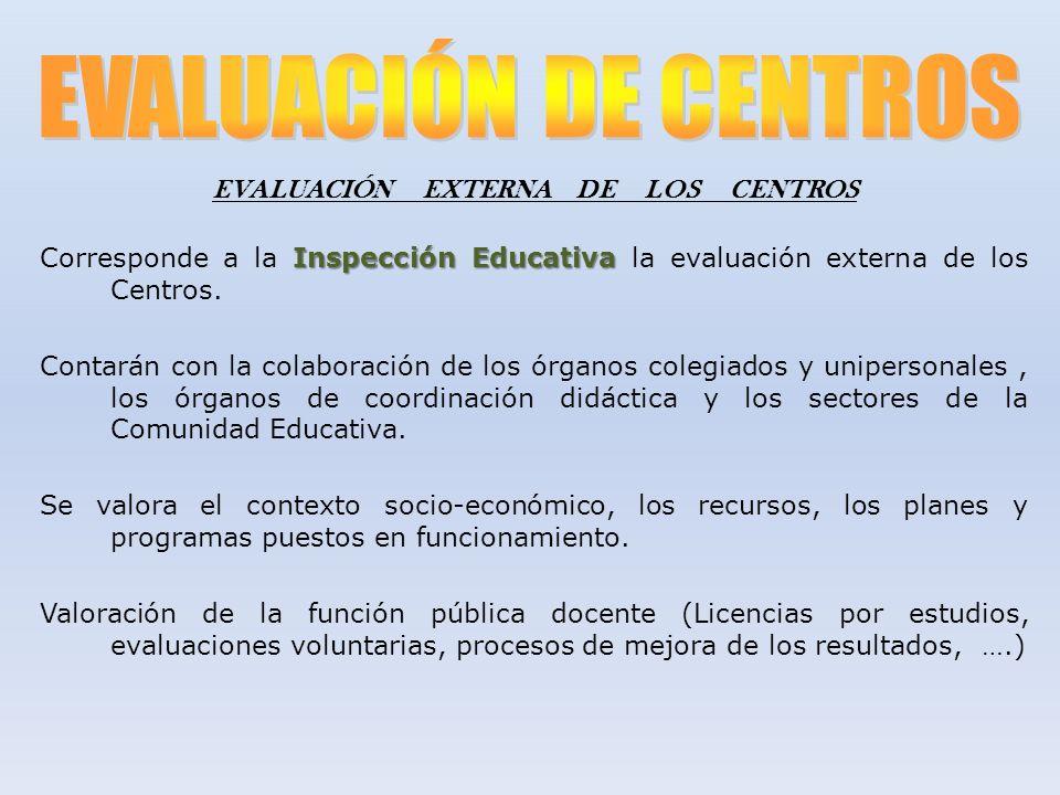 EVALUACIÓN EXTERNA DE LOS CENTROS