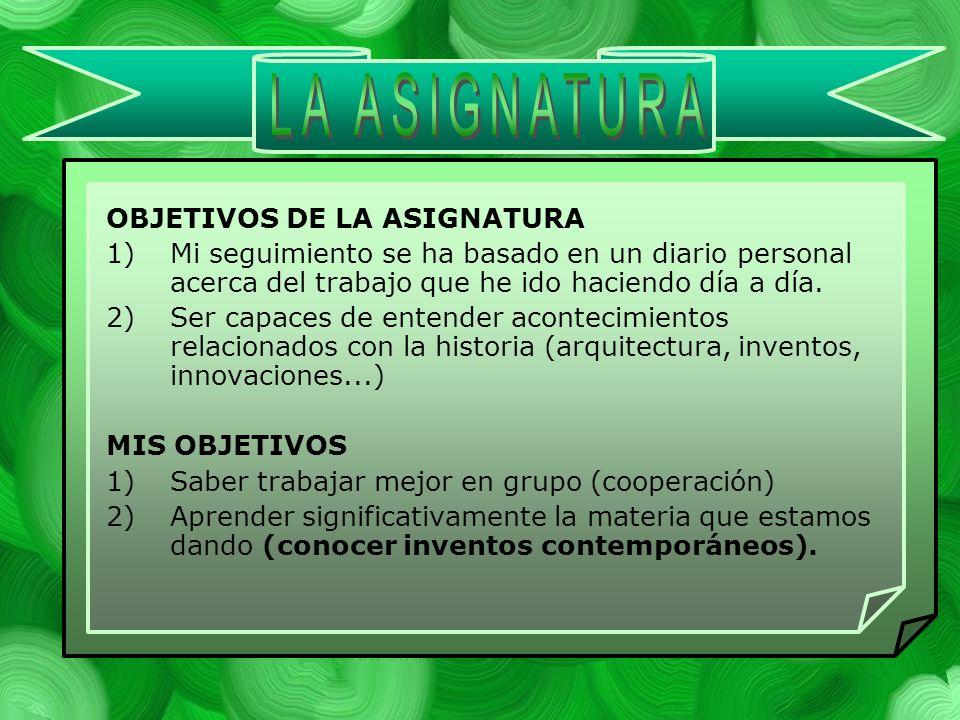 LA ASIGNATURA OBJETIVOS DE LA ASIGNATURA