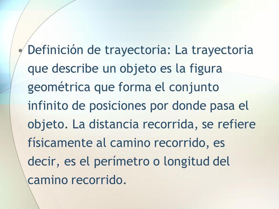 Definición de trayectoria: La trayectoria que describe un objeto es la figura geométrica que forma el conjunto infinito de posiciones por donde pasa el objeto.