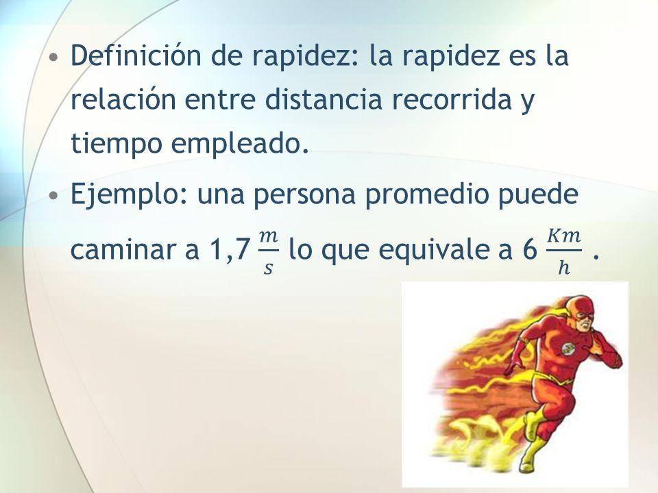 Definición de rapidez: la rapidez es la relación entre distancia recorrida y tiempo empleado.