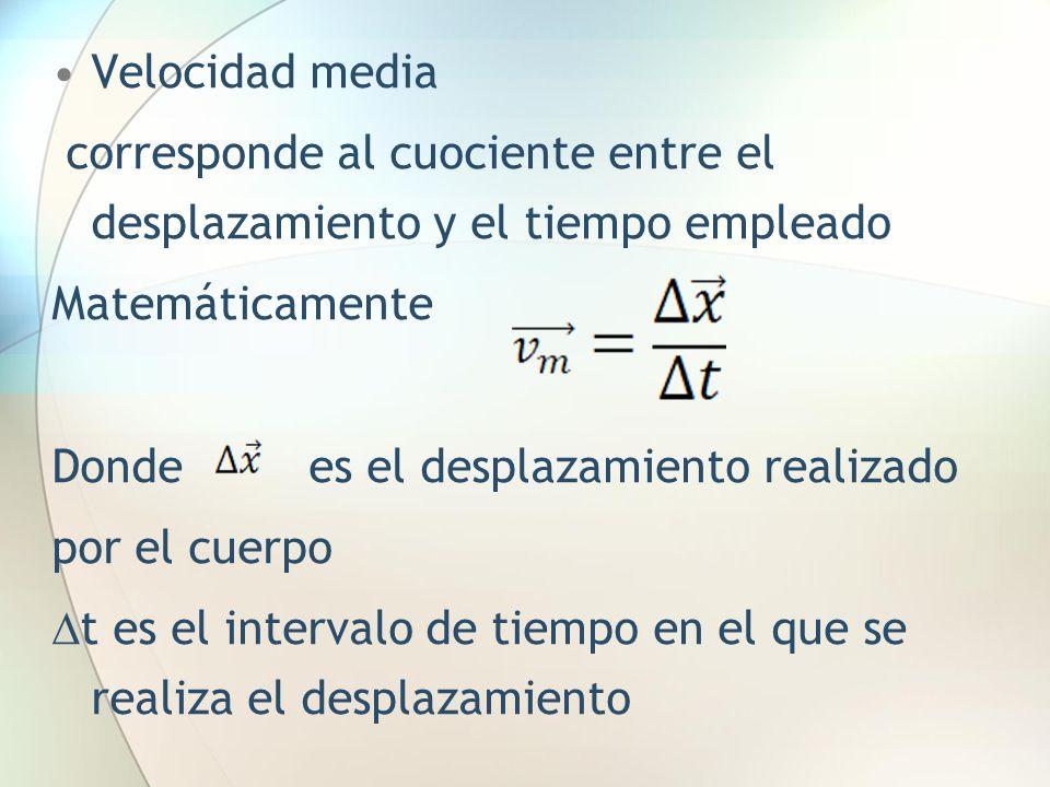 Velocidad media corresponde al cuociente entre el desplazamiento y el tiempo empleado. Matemáticamente.