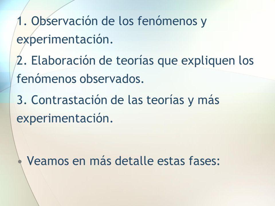 1. Observación de los fenómenos y experimentación.