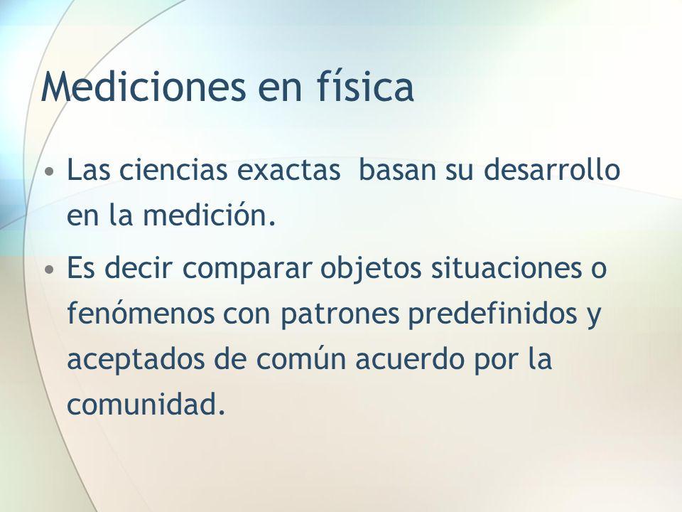 Mediciones en física Las ciencias exactas basan su desarrollo en la medición.