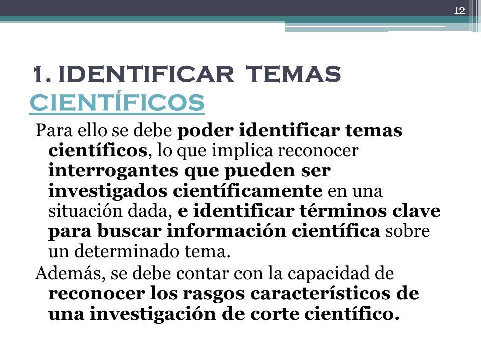 1. IDENTIFICAR TEMAS CIENTÍFICOS