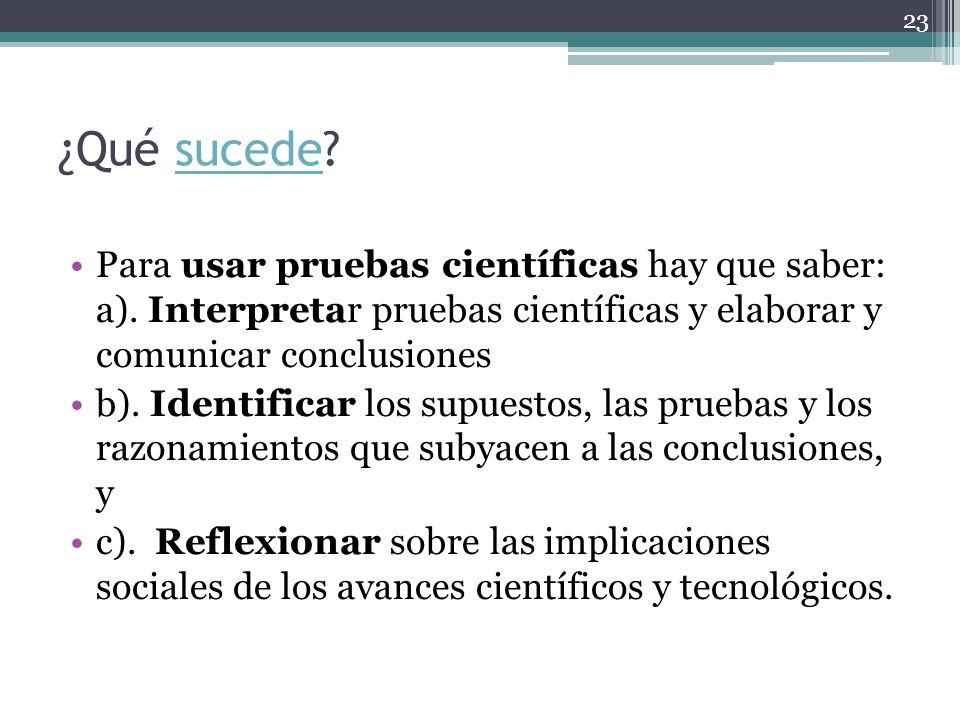 ¿Qué sucede Para usar pruebas científicas hay que saber: a). Interpretar pruebas científicas y elaborar y comunicar conclusiones.