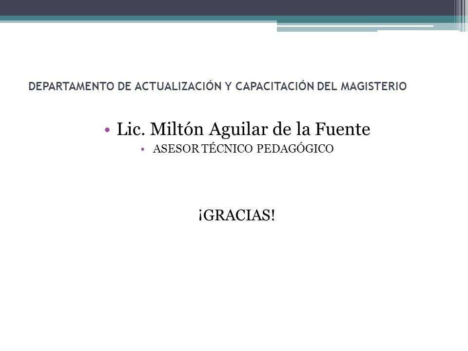 DEPARTAMENTO DE ACTUALIZACIÓN Y CAPACITACIÓN DEL MAGISTERIO