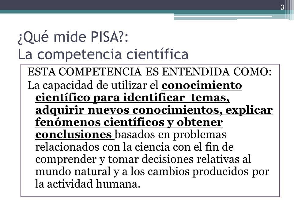¿Qué mide PISA : La competencia científica