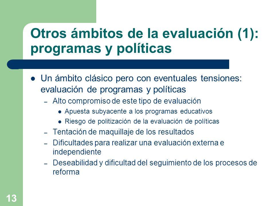 Otros ámbitos de la evaluación (1): programas y políticas