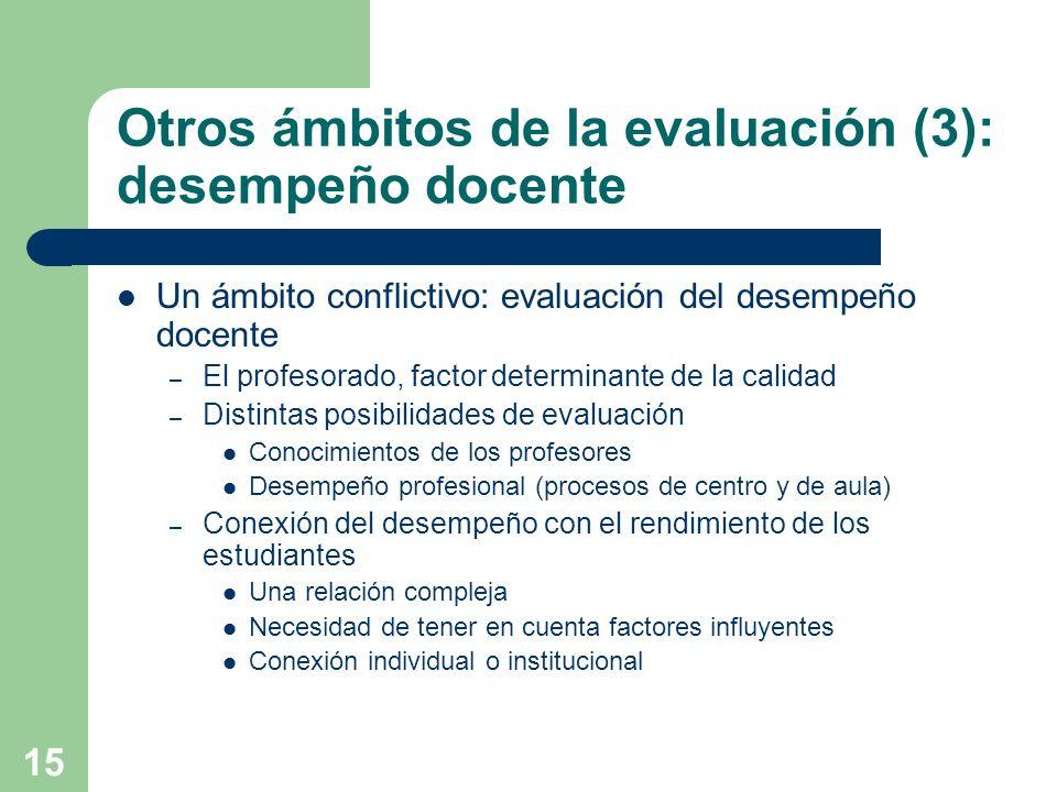Otros ámbitos de la evaluación (3): desempeño docente