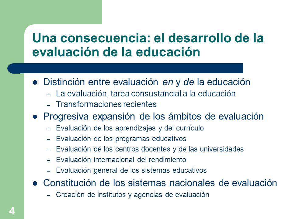 Una consecuencia: el desarrollo de la evaluación de la educación