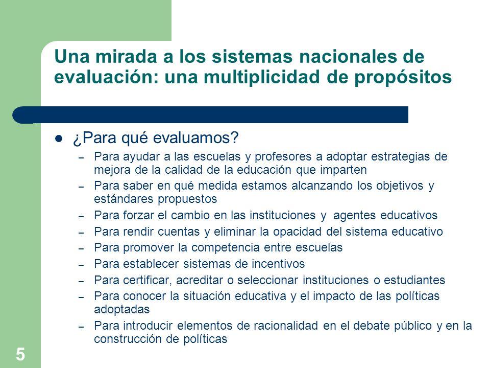 Una mirada a los sistemas nacionales de evaluación: una multiplicidad de propósitos