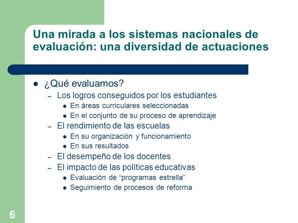 Una mirada a los sistemas nacionales de evaluación: una diversidad de actuaciones