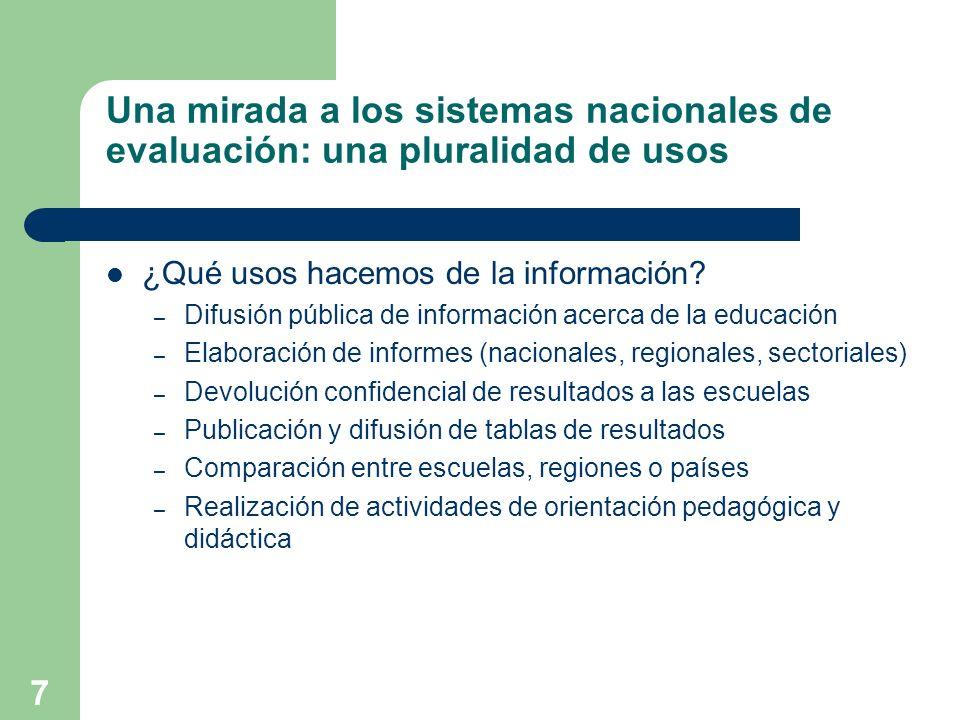 Una mirada a los sistemas nacionales de evaluación: una pluralidad de usos