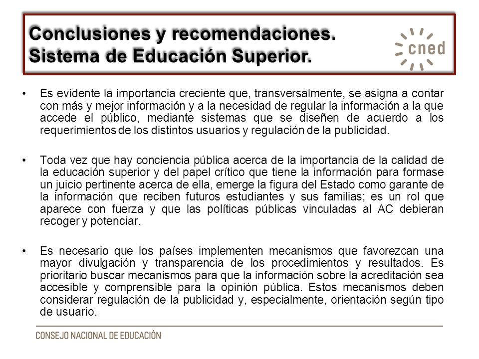 Conclusiones y recomendaciones. Sistema de Educación Superior.