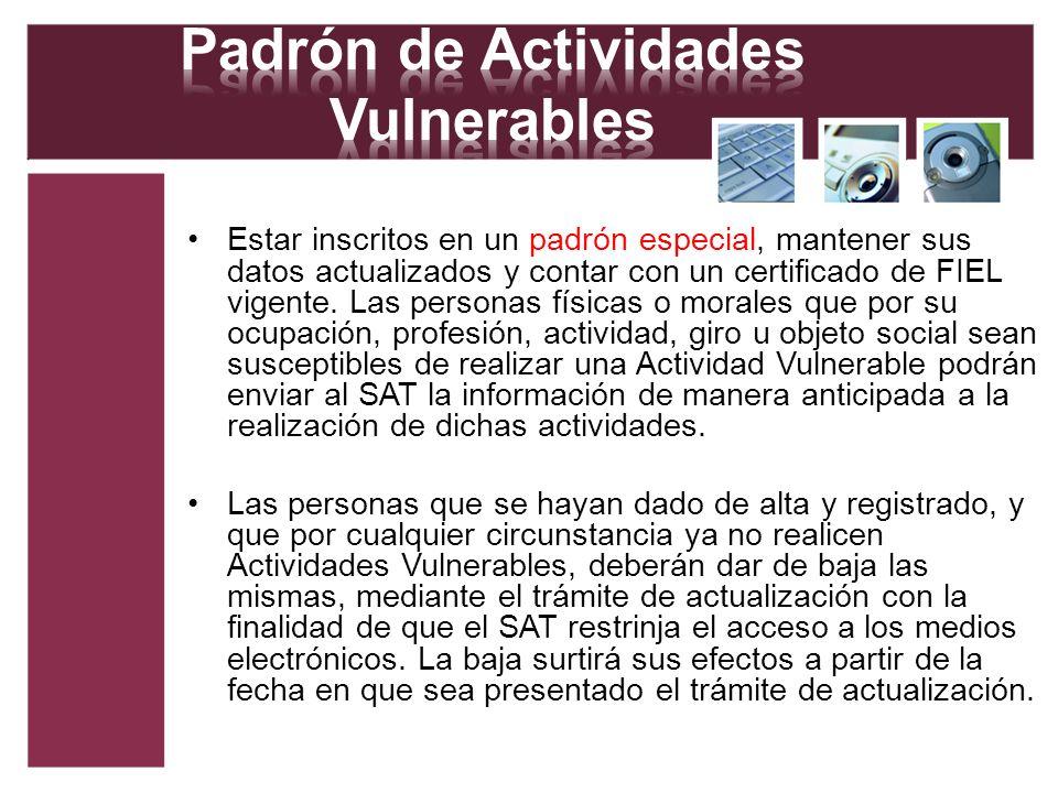Padrón de Actividades Vulnerables