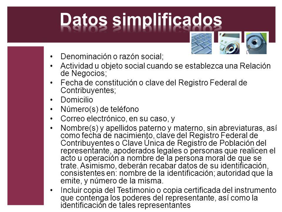 Datos simplificados Denominación o razón social;