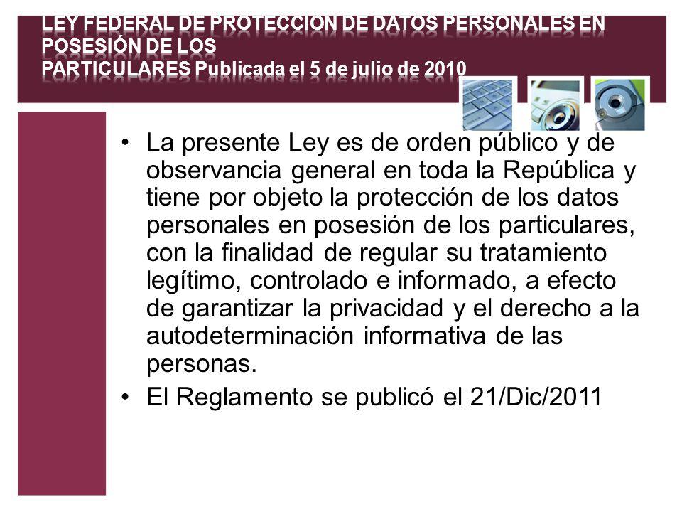 El Reglamento se publicó el 21/Dic/2011