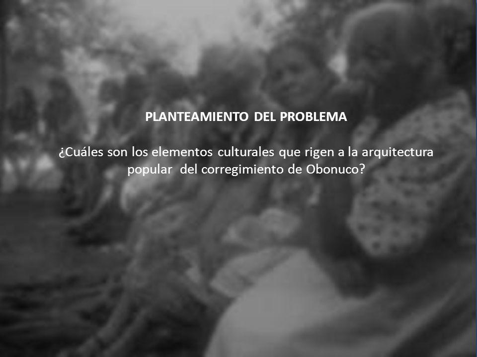 PLANTEAMIENTO DEL PROBLEMA ¿Cuáles son los elementos culturales que rigen a la arquitectura popular del corregimiento de Obonuco.