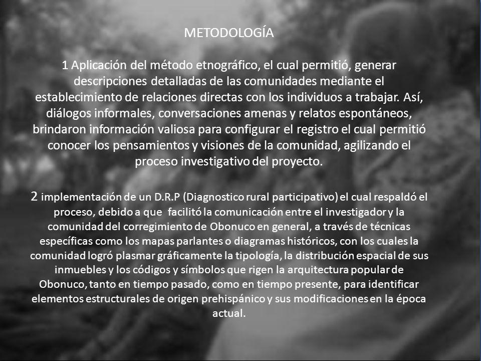 METODOLOGÍA 1 Aplicación del método etnográfico, el cual permitió, generar descripciones detalladas de las comunidades mediante el establecimiento de relaciones directas con los individuos a trabajar.