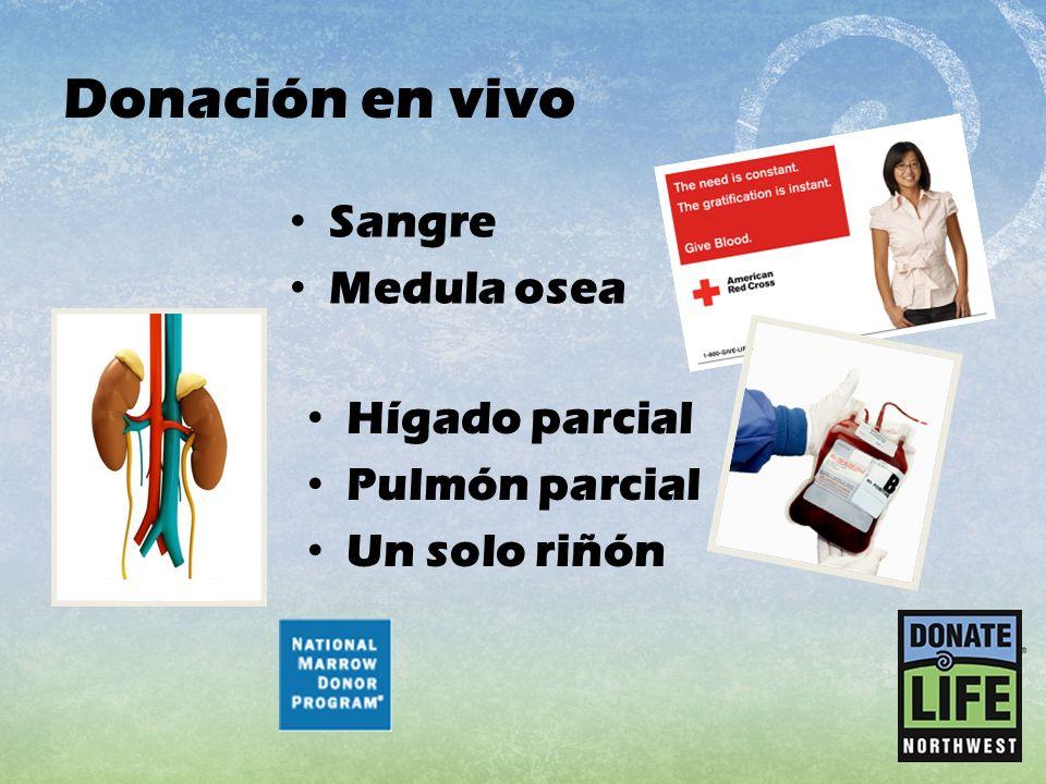 Donación en vivo Sangre Medula osea Hígado parcial Pulmón parcial