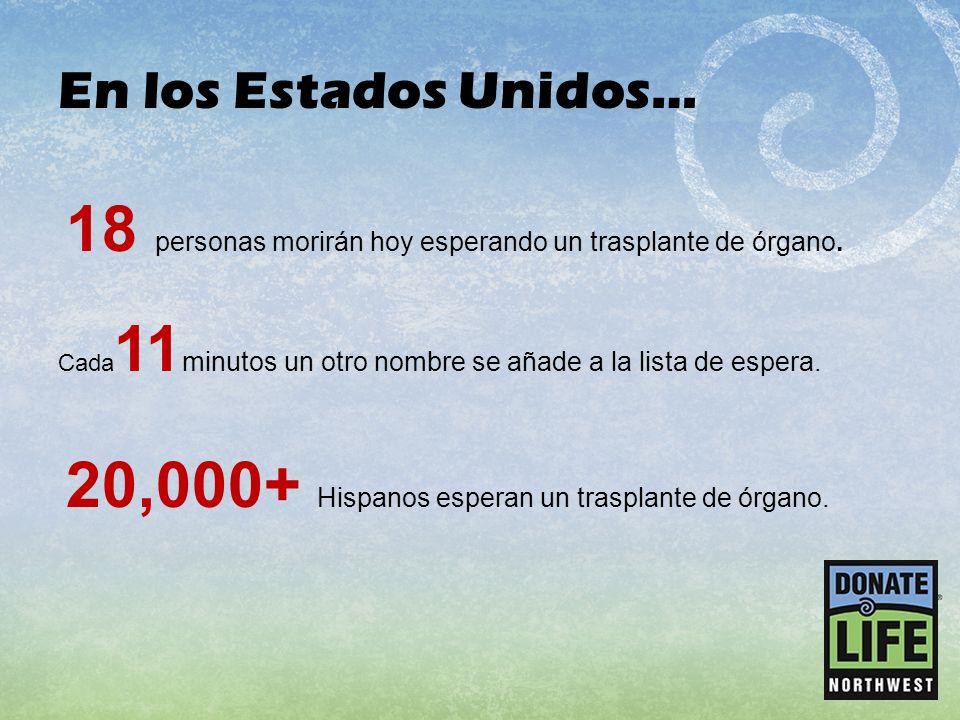 18 personas morirán hoy esperando un trasplante de órgano.