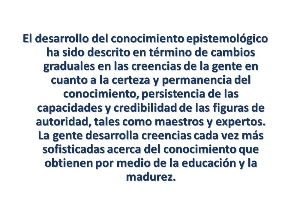 El desarrollo del conocimiento epistemológico ha sido descrito en término de cambios graduales en las creencias de la gente en cuanto a la certeza y permanencia del conocimiento, persistencia de las capacidades y credibilidad de las figuras de autoridad, tales como maestros y expertos.