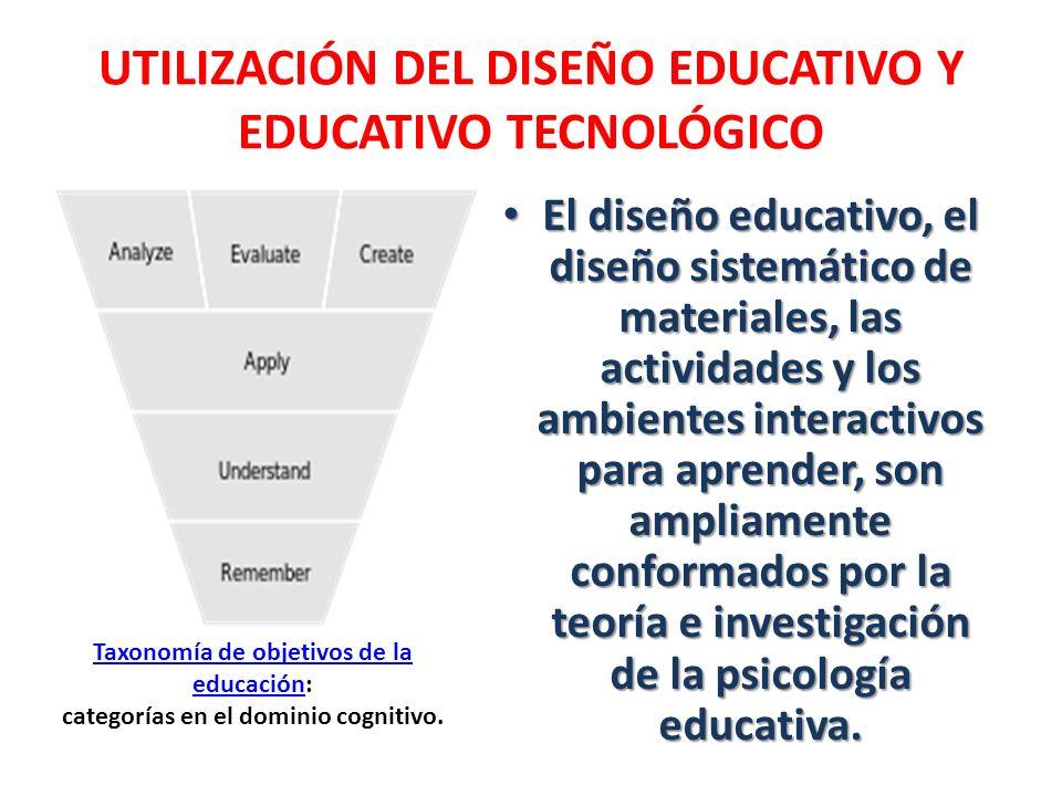 UTILIZACIÓN DEL DISEÑO EDUCATIVO Y EDUCATIVO TECNOLÓGICO