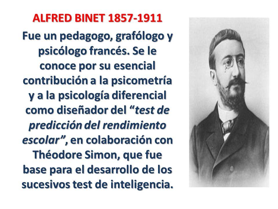 ALFRED BINET 1857-1911 Fue un pedagogo, grafólogo y psicólogo francés