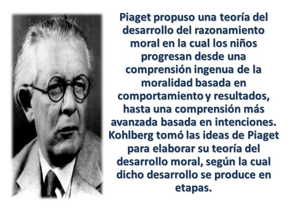 Piaget propuso una teoría del desarrollo del razonamiento moral en la cual los niños progresan desde una comprensión ingenua de la moralidad basada en comportamiento y resultados, hasta una comprensión más avanzada basada en intenciones.