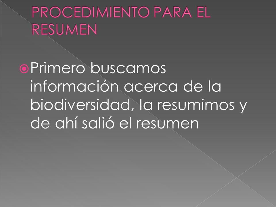 PROCEDIMIENTO PARA EL RESUMEN