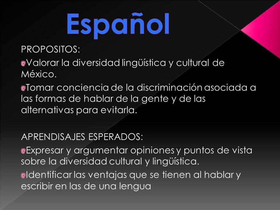 Español PROPOSITOS: Valorar la diversidad lingüística y cultural de México.