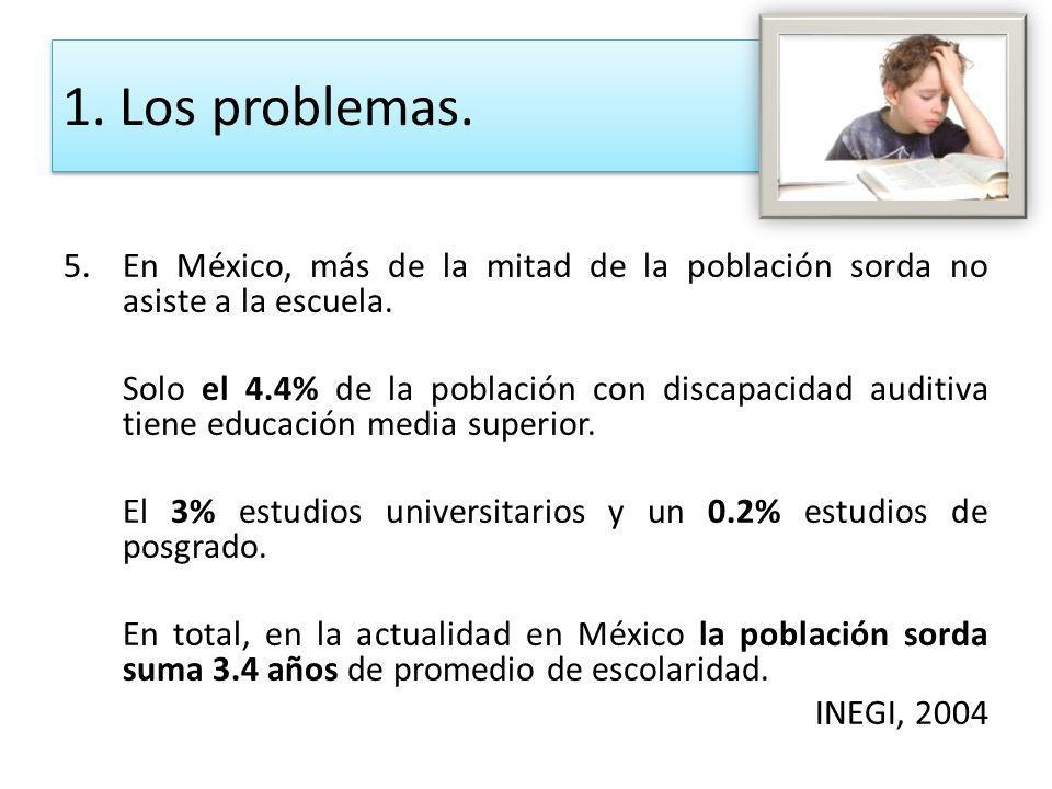 1. Los problemas. En México, más de la mitad de la población sorda no asiste a la escuela.