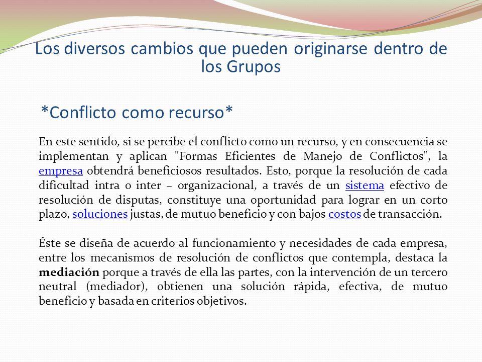 Los diversos cambios que pueden originarse dentro de los Grupos