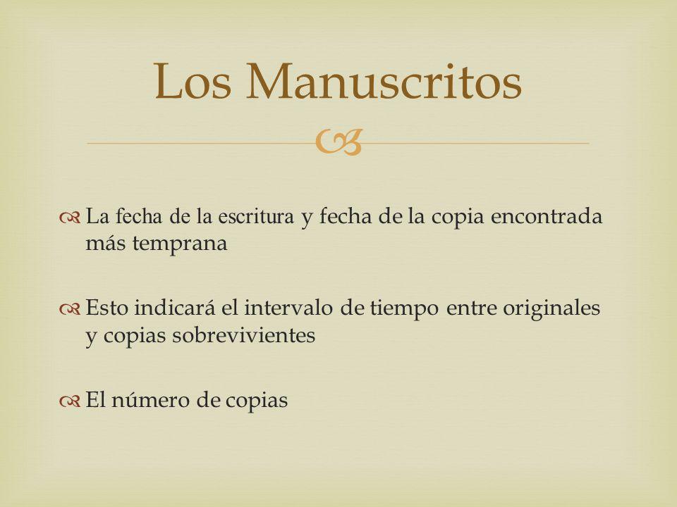 Los Manuscritos La fecha de la escritura y fecha de la copia encontrada más temprana.