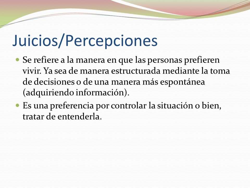 Juicios/Percepciones