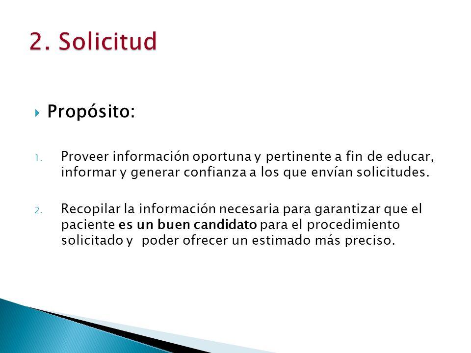 2. Solicitud Propósito: Proveer información oportuna y pertinente a fin de educar, informar y generar confianza a los que envían solicitudes.