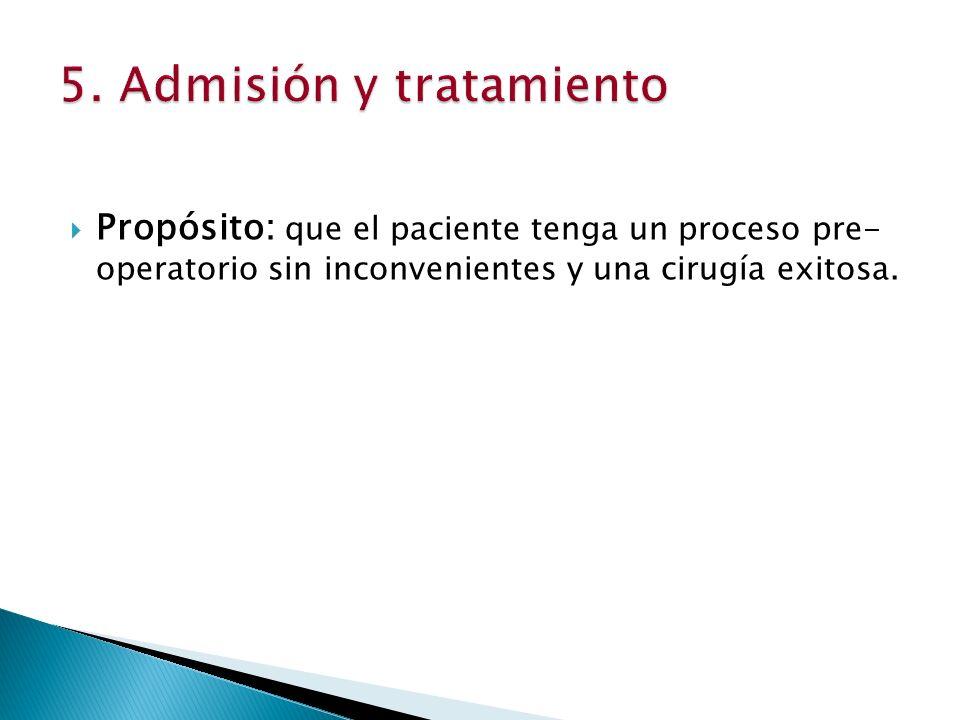 5. Admisión y tratamiento