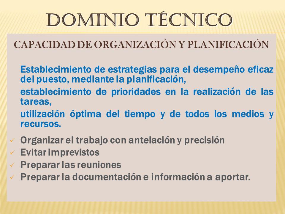 CAPACIDAD DE ORGANIZACIÓN Y PLANIFICACIÓN