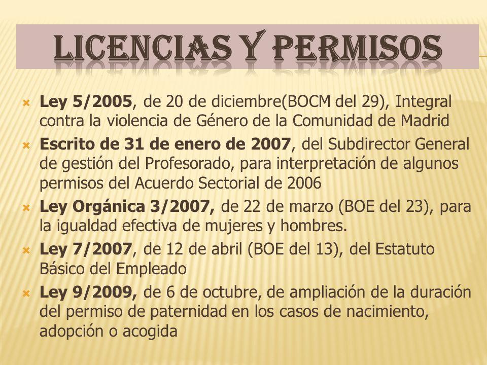 Licencias y permisos Ley 5/2005, de 20 de diciembre(BOCM del 29), Integral contra la violencia de Género de la Comunidad de Madrid.