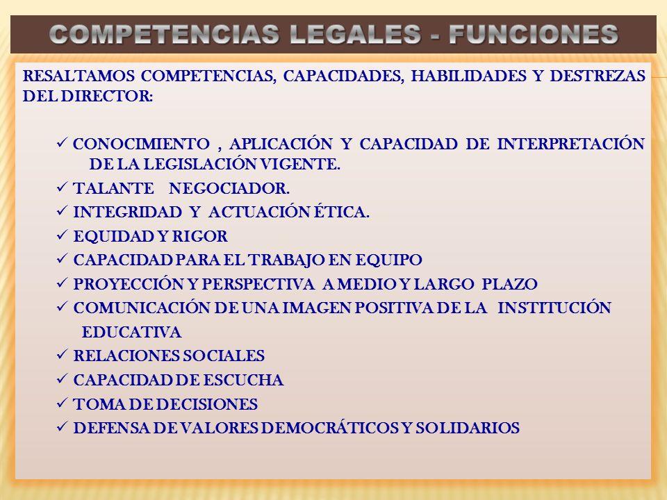 COMPETENCIAS LEGALES - FUNCIONES