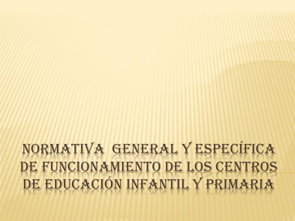 NORMATIVA GENERAL Y ESPECÍFICA DE FUNCIONAMIENTO DE LOS CENTROS DE EDUCACIÓN INFANTIL Y PRIMARIA