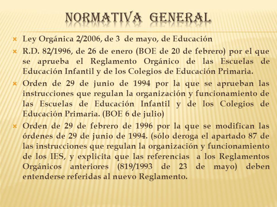 NORMATIVA GENERAL Ley Orgánica 2/2006, de 3 de mayo, de Educación