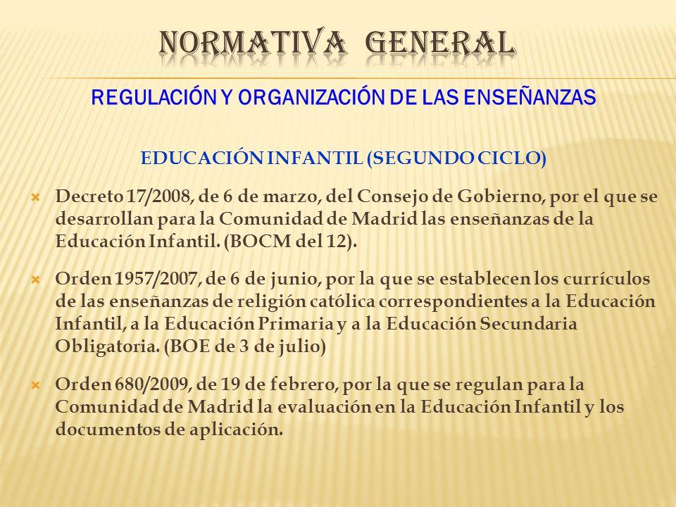NORMATIVA GENERAL REGULACIÓN Y ORGANIZACIÓN DE LAS ENSEÑANZAS