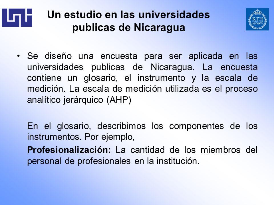 Un estudio en las universidades publicas de Nicaragua