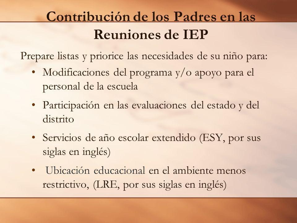 Contribución de los Padres en las Reuniones de IEP