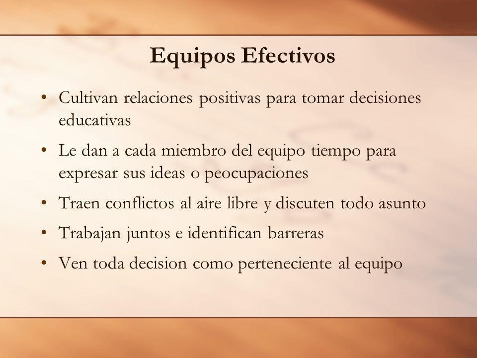 Equipos Efectivos Cultivan relaciones positivas para tomar decisiones educativas.
