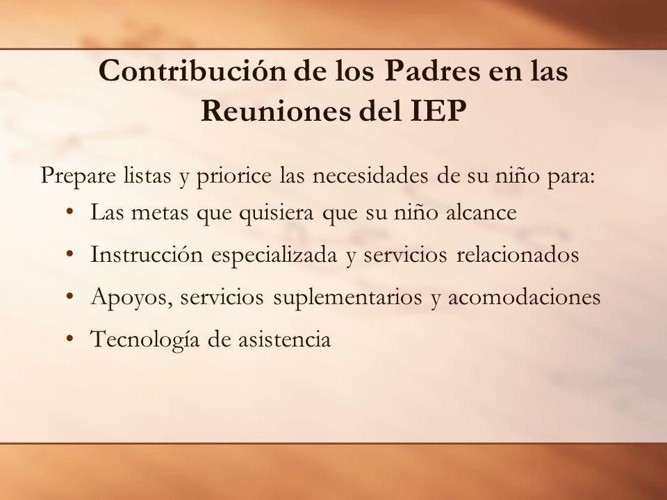 Contribución de los Padres en las Reuniones del IEP