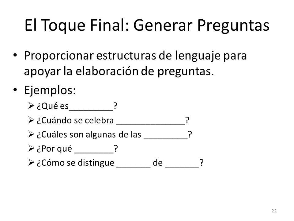 El Toque Final: Generar Preguntas
