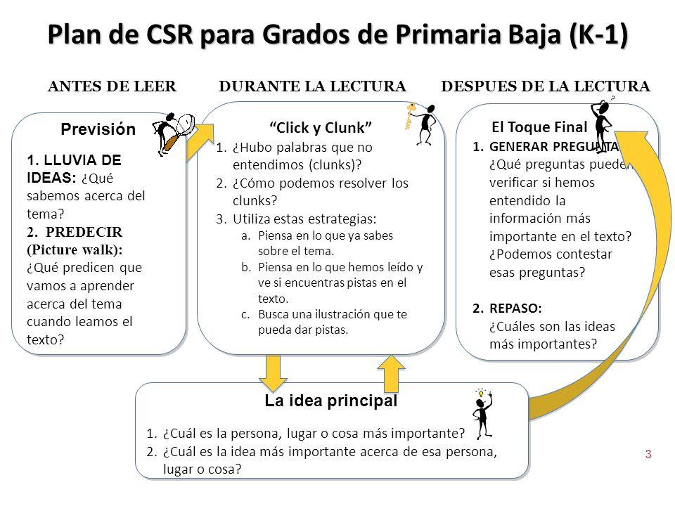Plan de CSR para Grados de Primaria Baja (K-1)
